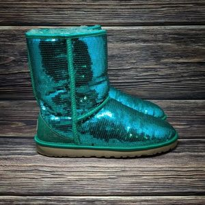 UGG Teal Mermaid Sequin Sparkly Glitter Classic Sh